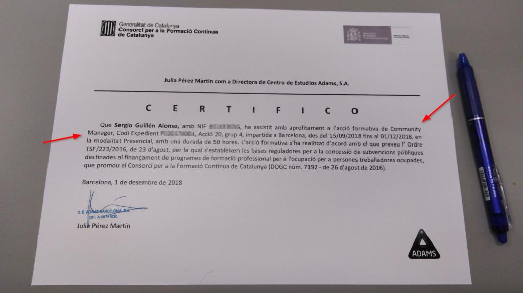 Certificado de la formación como Community Management en el centro Adams Barcelona con Carme Mateo